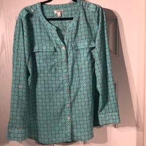 Navy & Teal Button Down